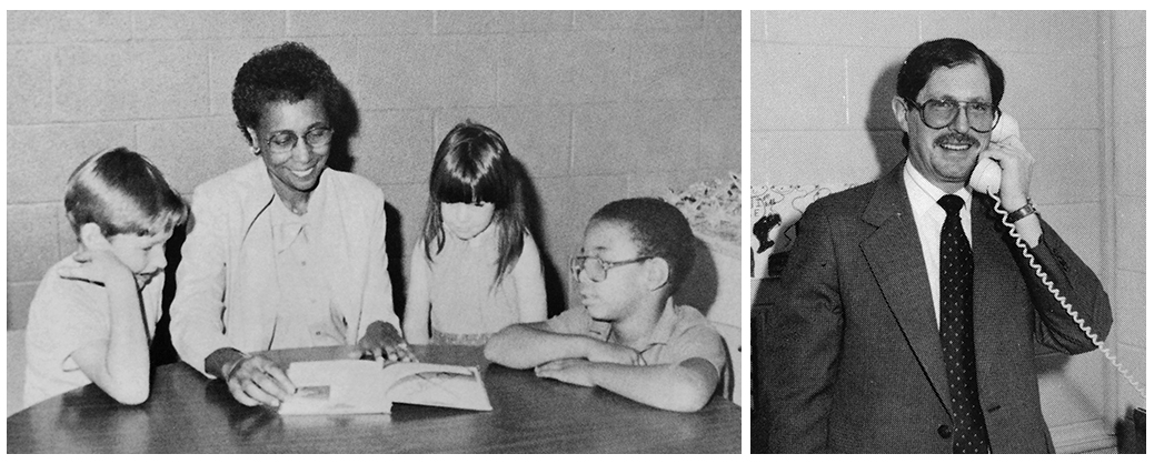 Portraits of Hayfield Elementary principals Audrey Montgomery and Edwin Grady. Montgomery is seated at a table reading to three students, and Grady is in his office speaking on the telephone.