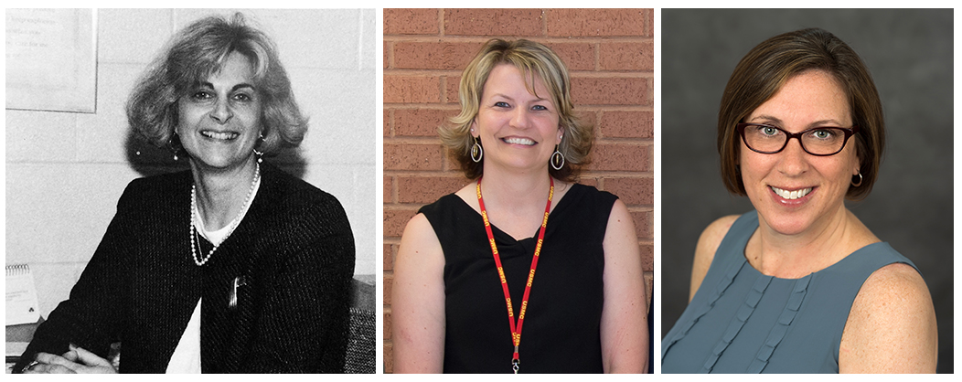 Portraits of Hayfield Elementary principals Barbara Vaccarella, Theresa Carhart, and Jessica Lewis. All three images are head-and-shoulders staff portraits.
